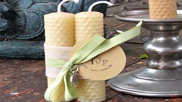 beeswax candles from Jersey Farm